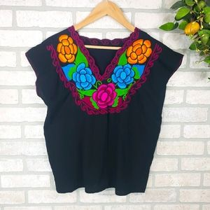 MEXICAN Embroidered Floral Blouse Short Sleeve
